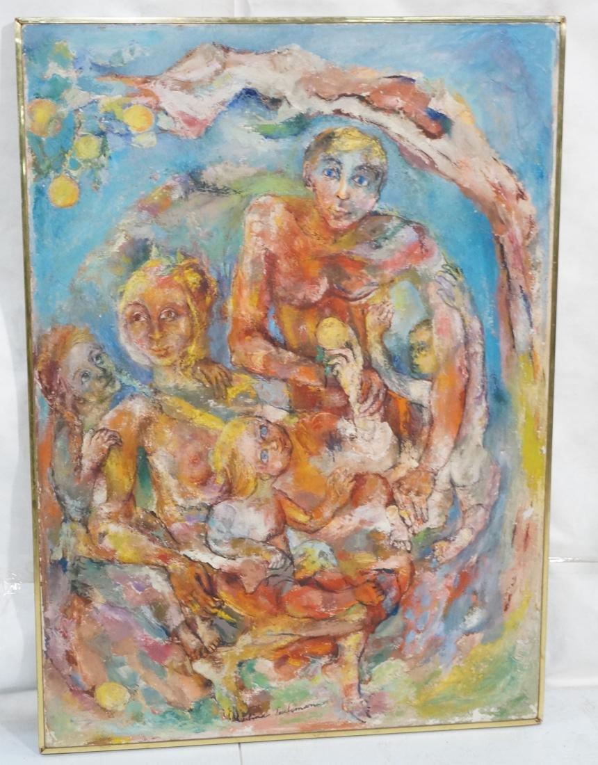 """SABINA TEICHMAN Oil on Canvas """"Family"""". Framed. N"""