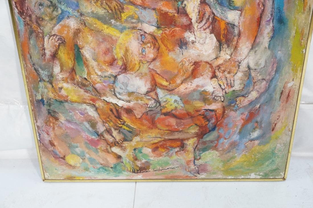 """SABINA TEICHMAN Oil on Canvas """"Family"""". Framed. N - 3"""