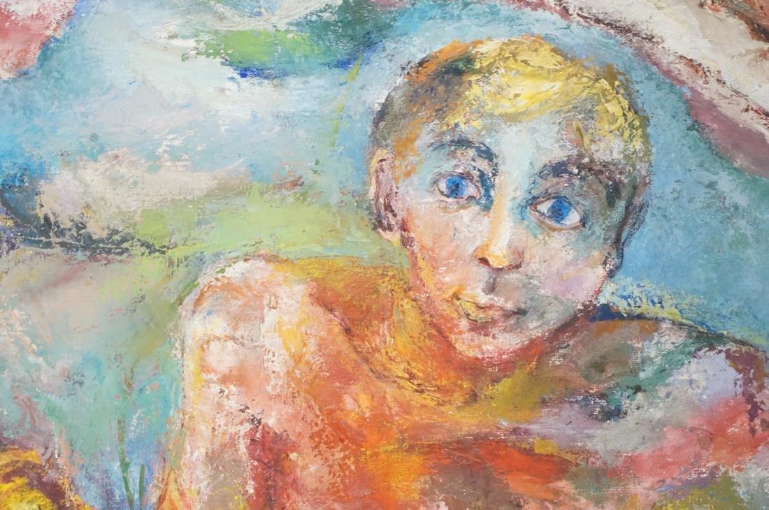 """SABINA TEICHMAN Oil on Canvas """"Family"""". Framed. N - 5"""