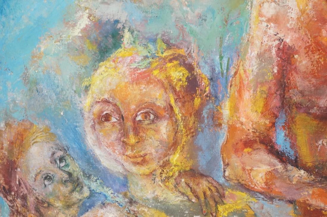 """SABINA TEICHMAN Oil on Canvas """"Family"""". Framed. N - 6"""