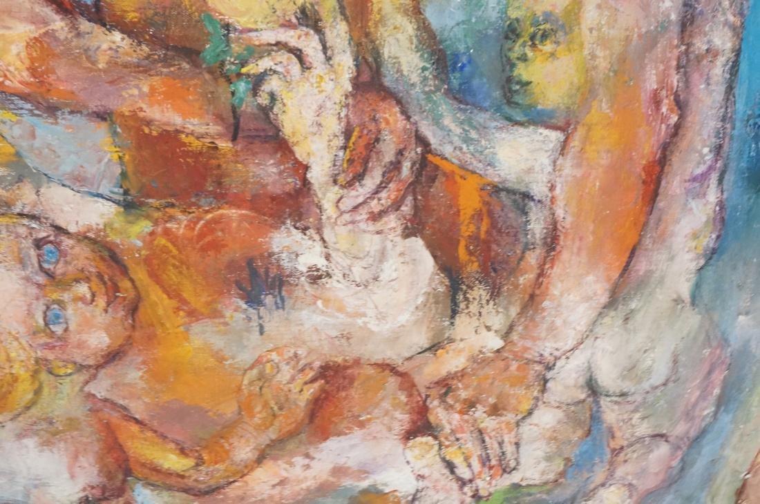 """SABINA TEICHMAN Oil on Canvas """"Family"""". Framed. N - 7"""