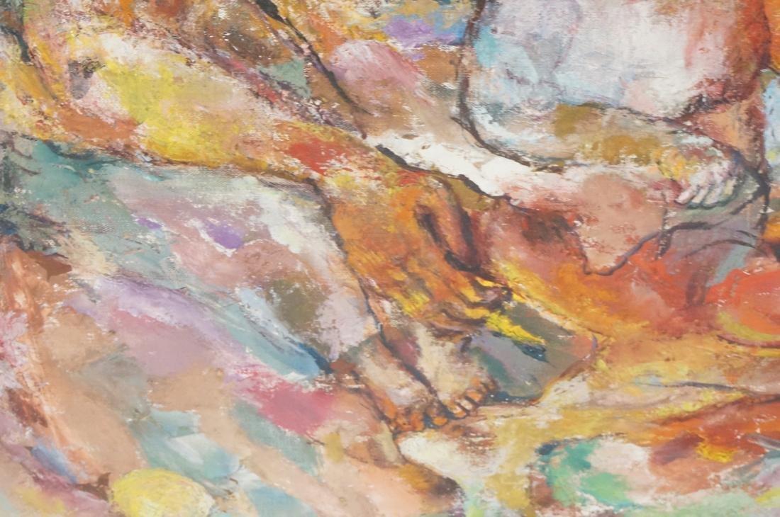 """SABINA TEICHMAN Oil on Canvas """"Family"""". Framed. N - 8"""