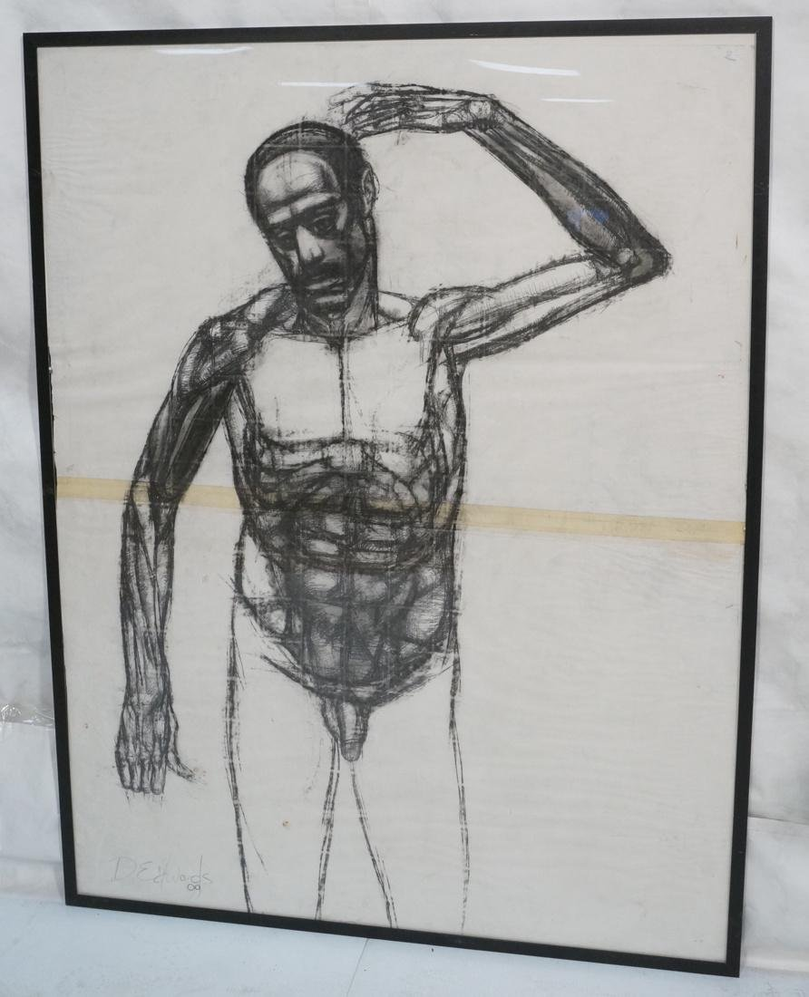 DARNELL EDWARDS Large Charcoal Drawing Nude Male