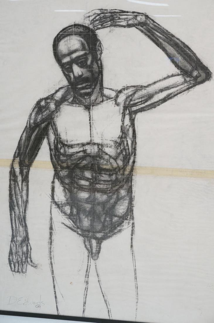DARNELL EDWARDS Large Charcoal Drawing Nude Male - 2