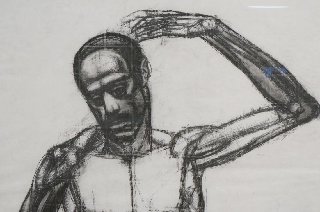DARNELL EDWARDS Large Charcoal Drawing Nude Male - 3