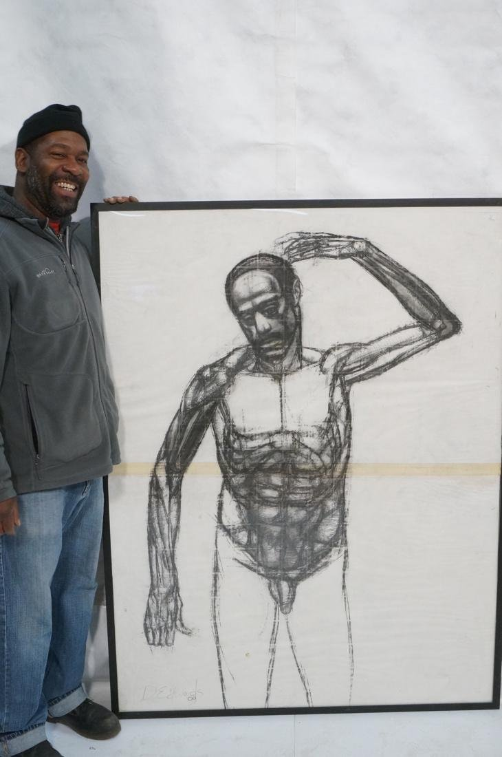 DARNELL EDWARDS Large Charcoal Drawing Nude Male - 7