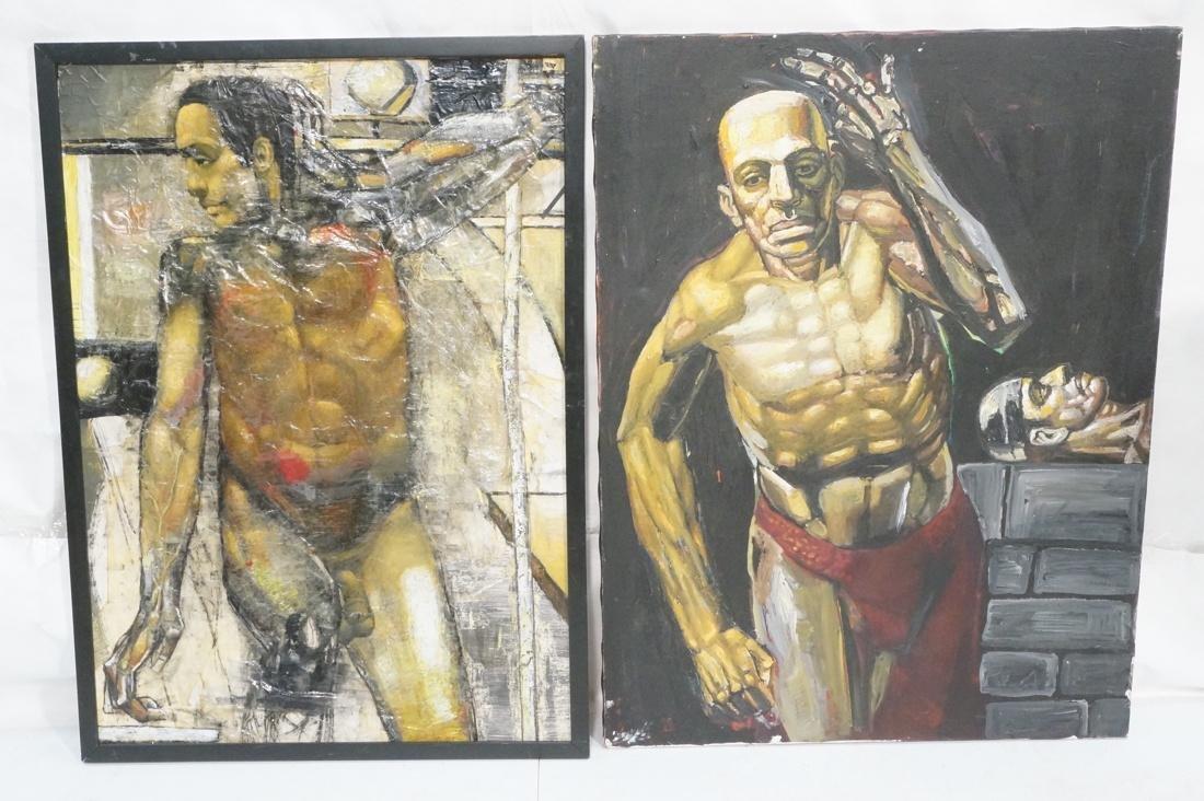 2 DARNELL EDWARDS Male Torso Art works. 1) Oil pa
