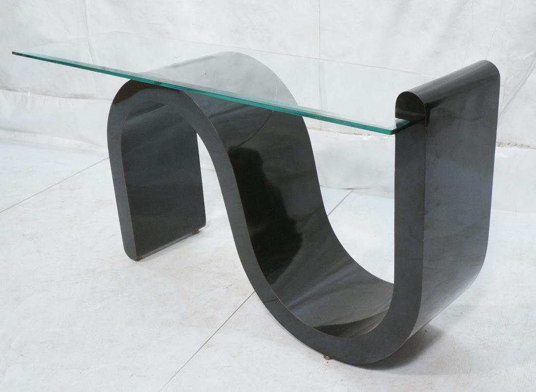 """Black """"S"""" Base Glass Top Hall Console Table. Cant"""