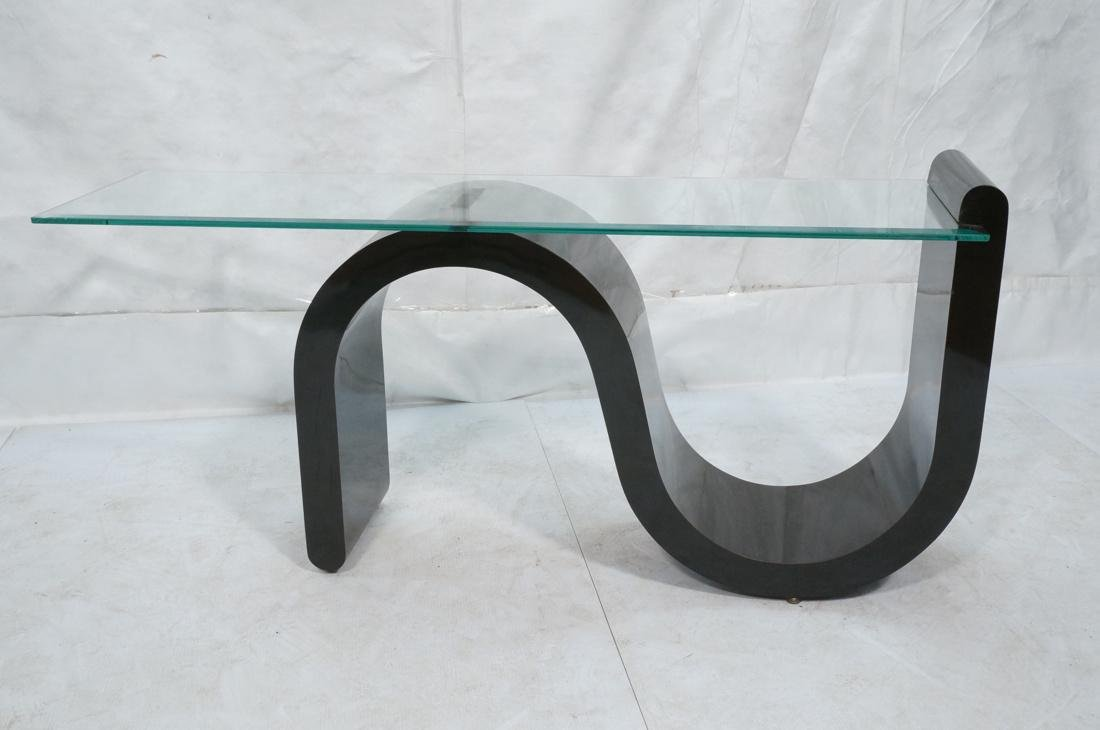 """Black """"S"""" Base Glass Top Hall Console Table. Cant - 2"""