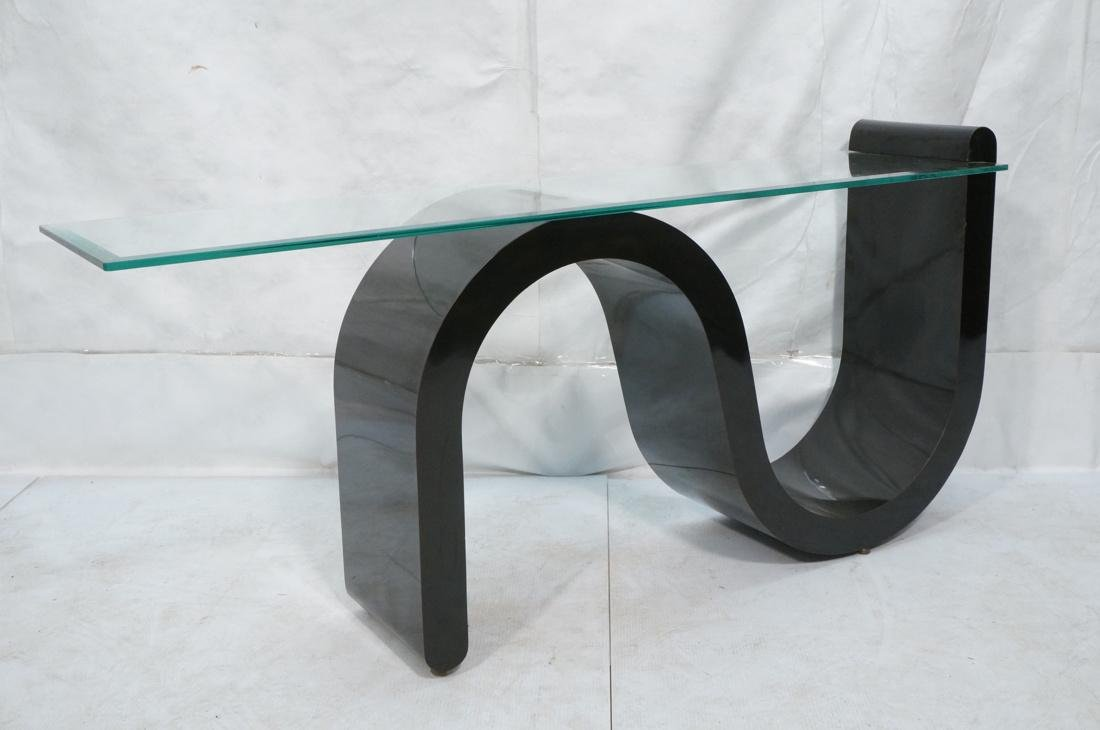 """Black """"S"""" Base Glass Top Hall Console Table. Cant - 3"""