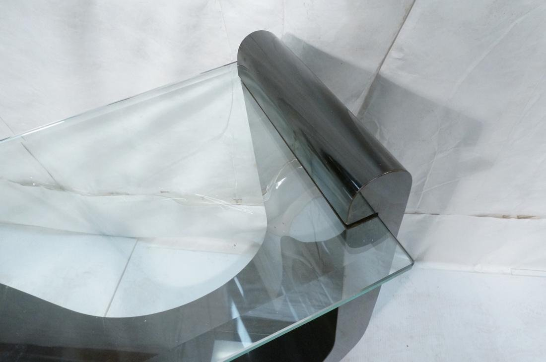 """Black """"S"""" Base Glass Top Hall Console Table. Cant - 7"""