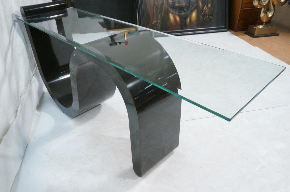 """Black """"S"""" Base Glass Top Hall Console Table. Cant - 9"""