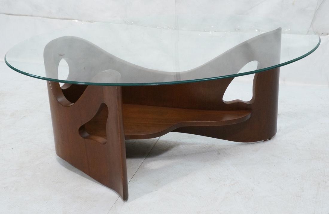 Stylish Modernist Organic Wood Cocktail Table. Gl