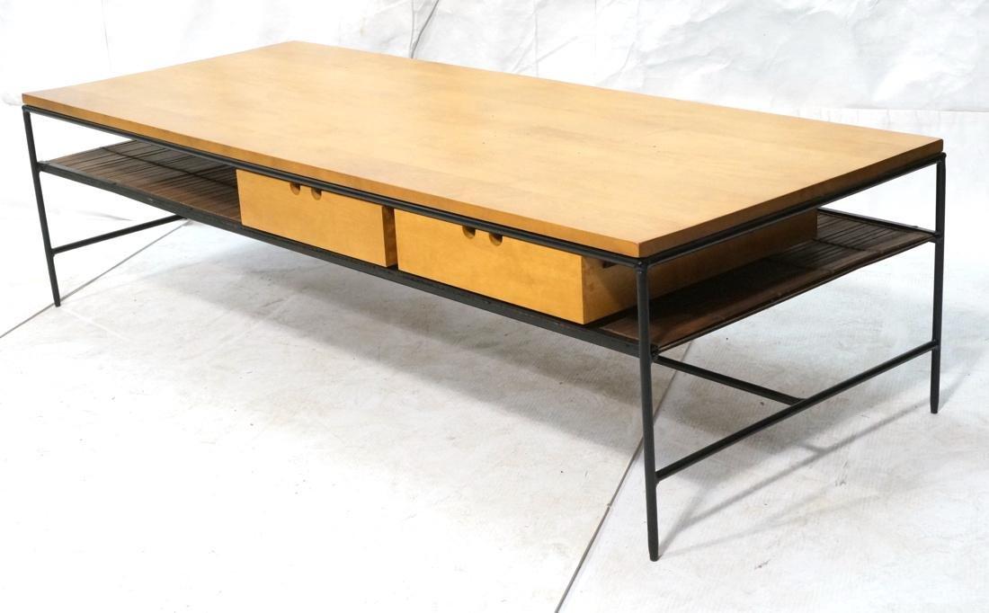 PAUL MCCOBB Maple 2 Drawer Coffee Table. Black ir