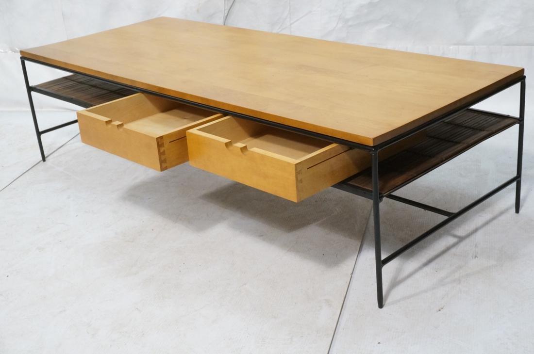PAUL MCCOBB Maple 2 Drawer Coffee Table. Black ir - 2