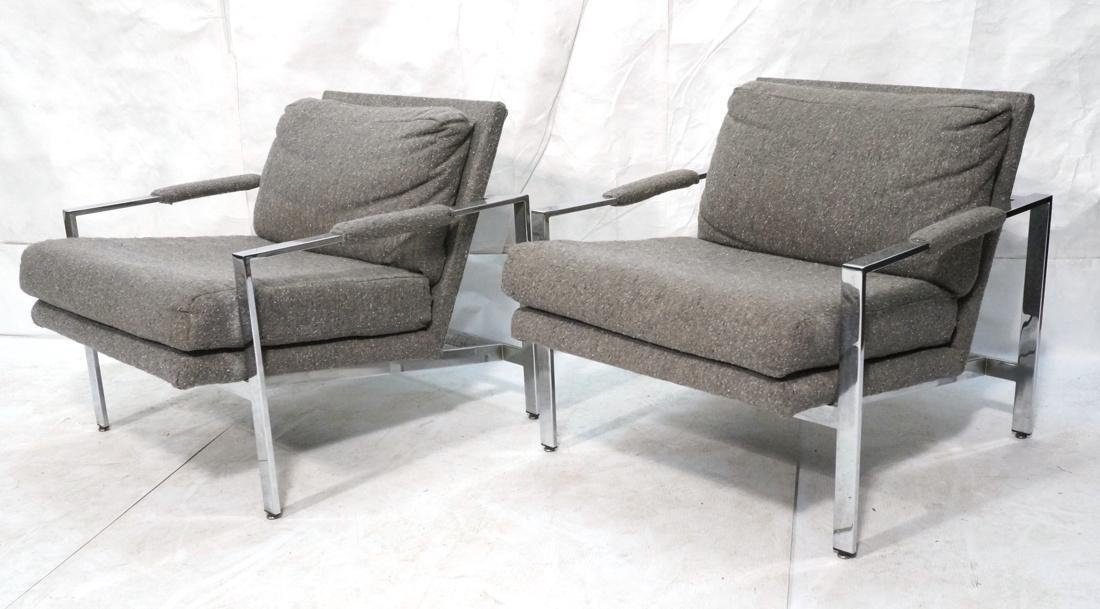 Pr MILO BAUGHMAN Chrome Frame Lounge Chairs. Nubb