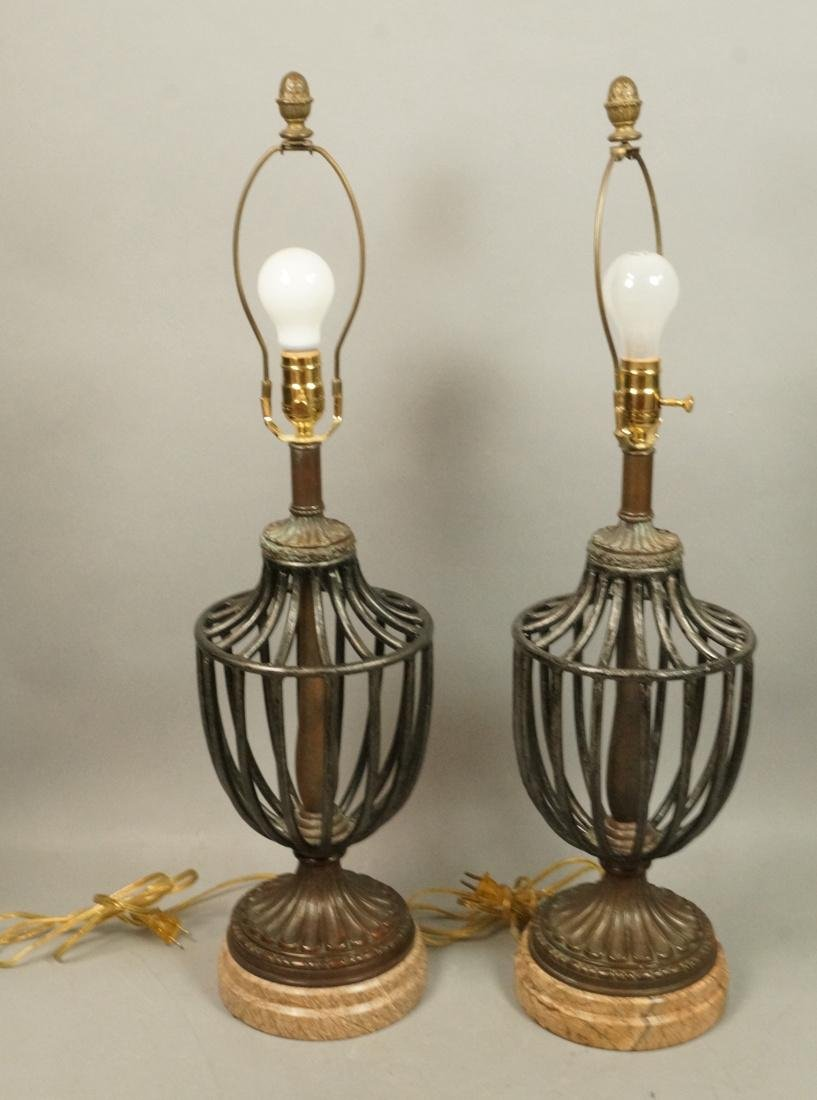 Pr Maitland Smith style Table Lamps. Open metal u