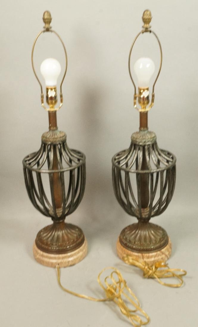 Pr Maitland Smith style Table Lamps. Open metal u - 8