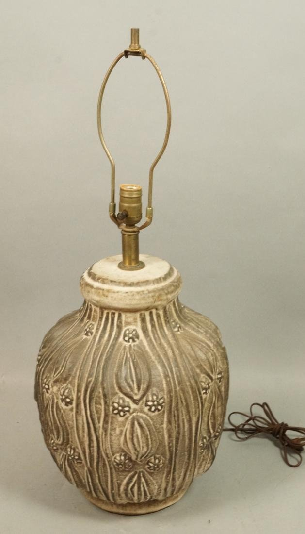 Large Textured Pottery Table Lamp. Relief design