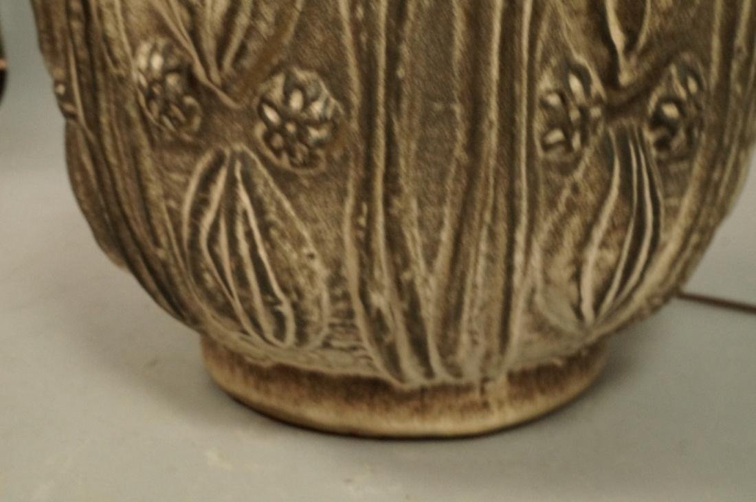 Large Textured Pottery Table Lamp. Relief design - 5