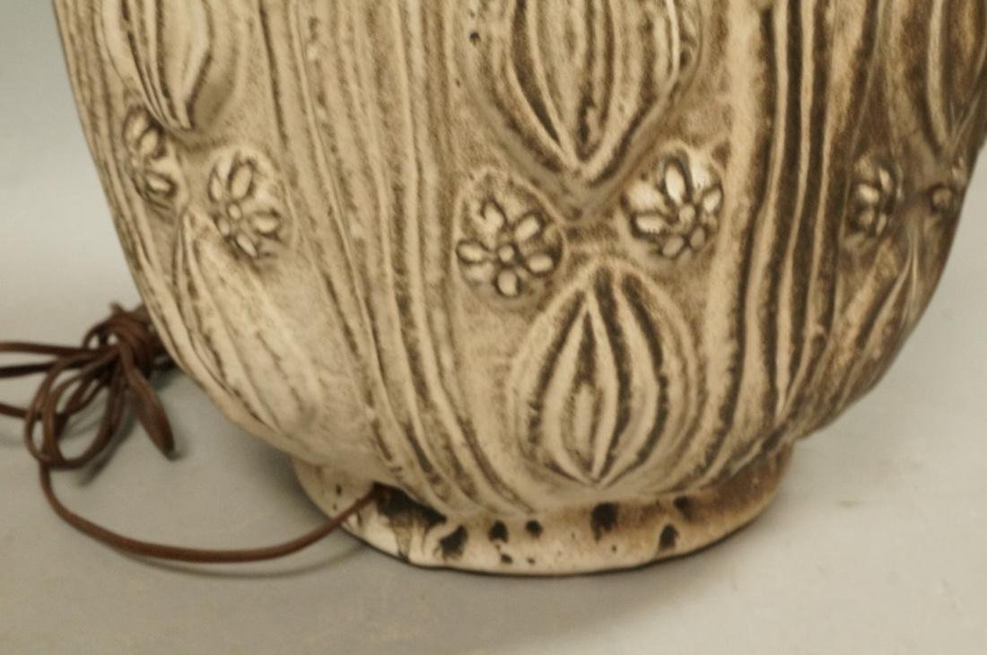Large Textured Pottery Table Lamp. Relief design - 8