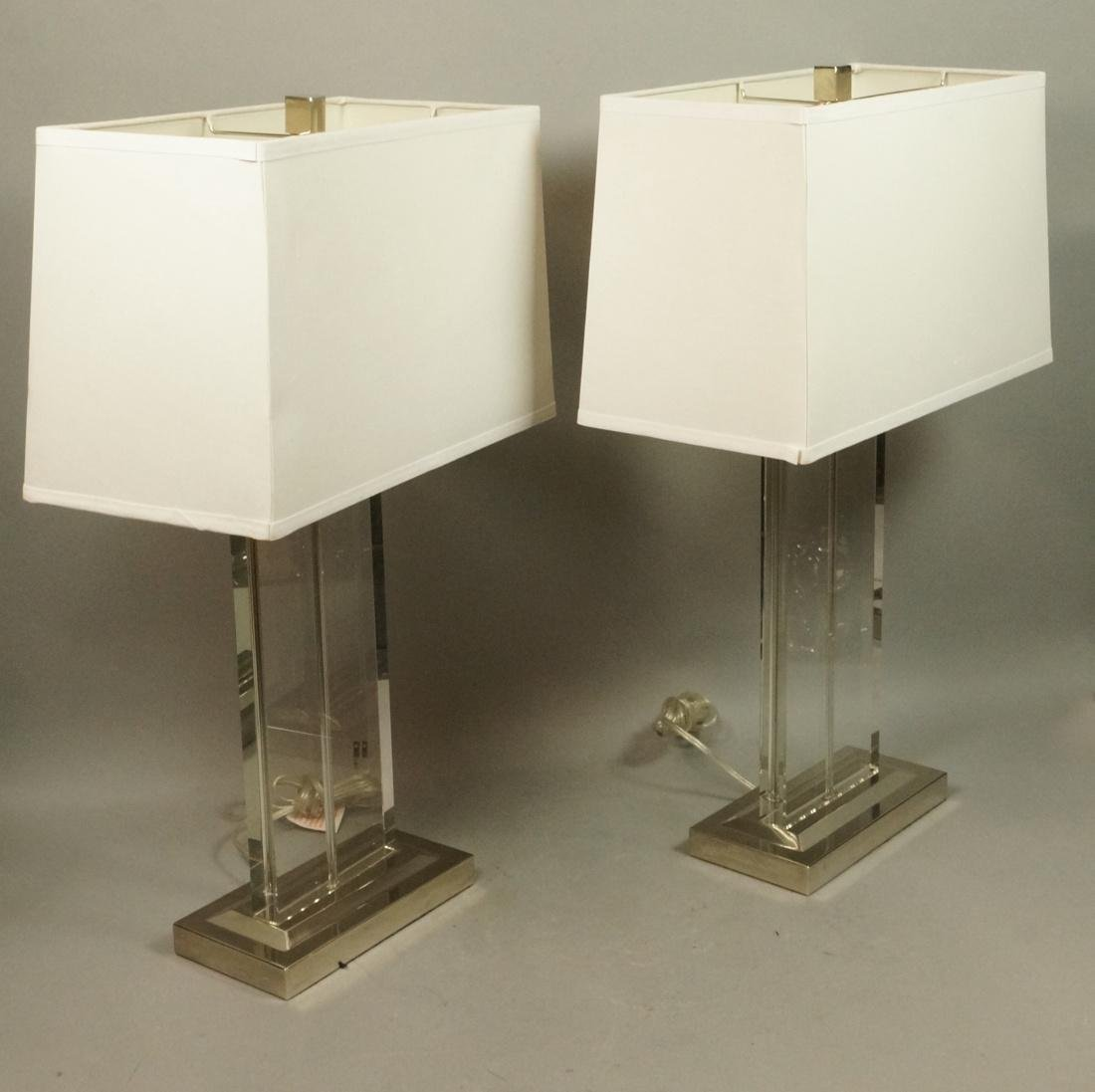 Pr Contemporary Glass Slab Table Lamps. Chrome ba