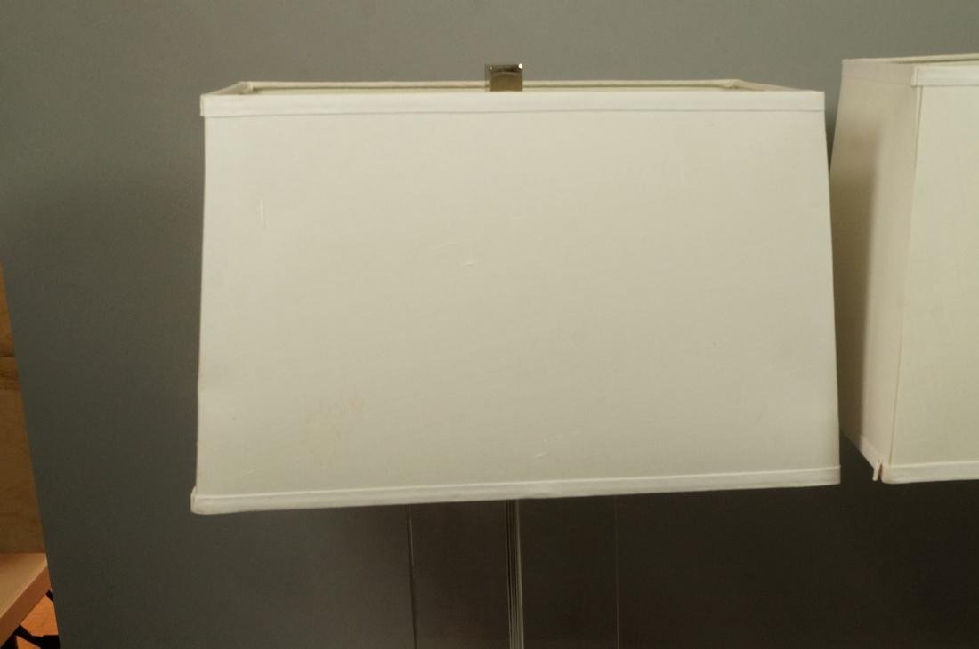 Pr Contemporary Glass Slab Table Lamps. Chrome ba - 2