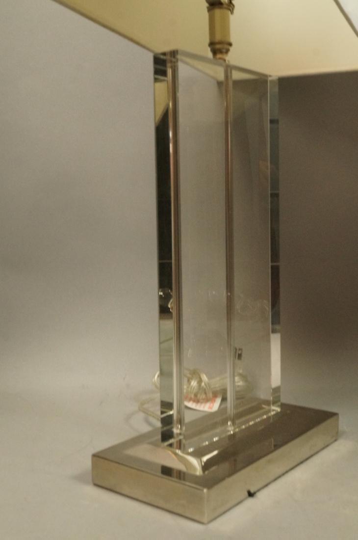 Pr Contemporary Glass Slab Table Lamps. Chrome ba - 3