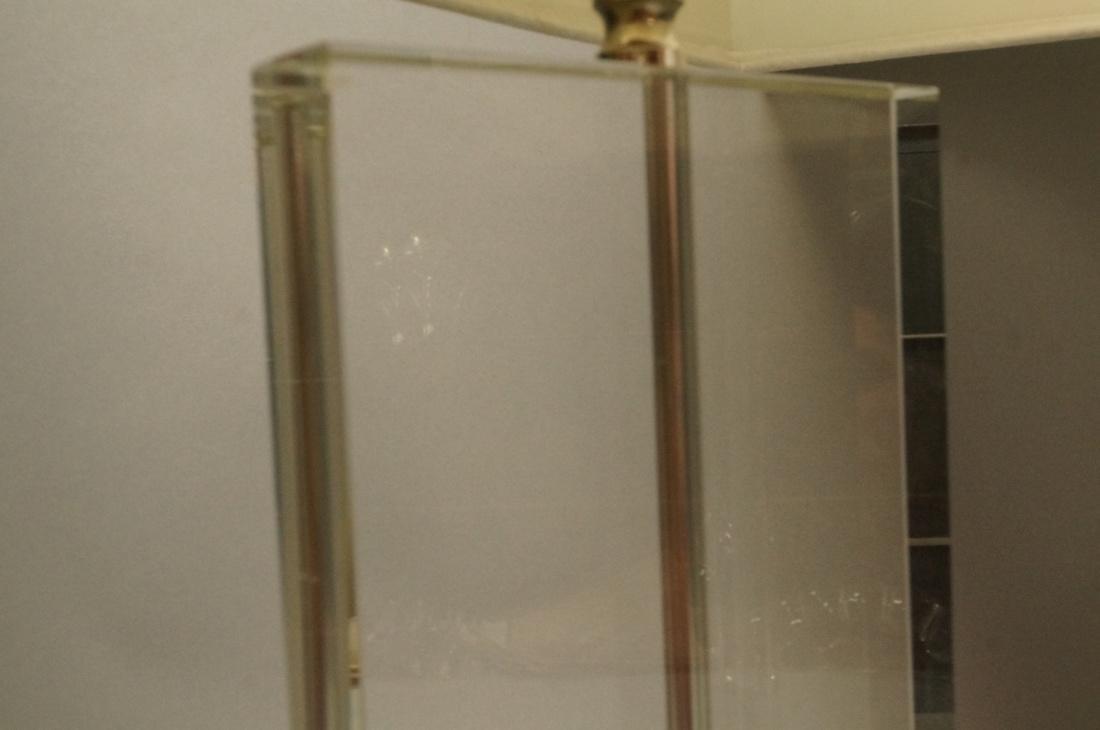 Pr Contemporary Glass Slab Table Lamps. Chrome ba - 4