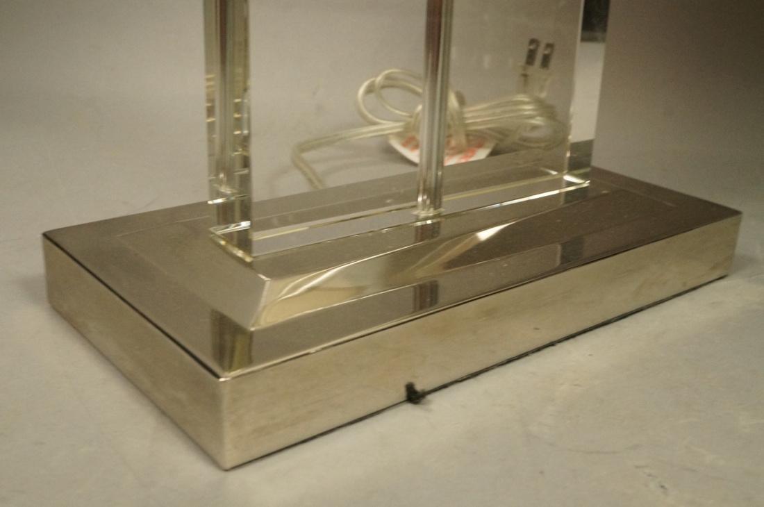 Pr Contemporary Glass Slab Table Lamps. Chrome ba - 5
