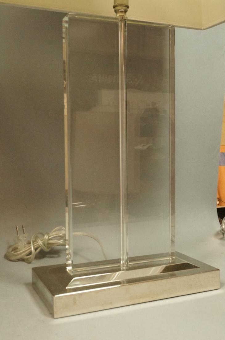 Pr Contemporary Glass Slab Table Lamps. Chrome ba - 6