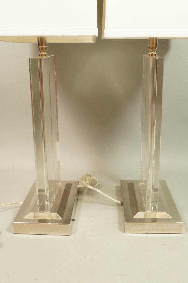 Pr Contemporary Glass Slab Table Lamps. Chrome ba - 8