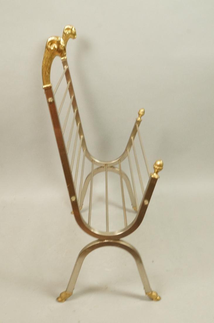 Italian Stainless Brass Rams Head Magazine Rack. - 4