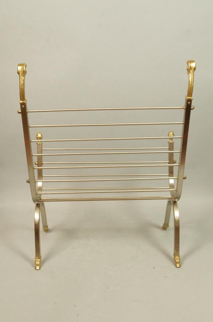 Italian Stainless Brass Rams Head Magazine Rack. - 5