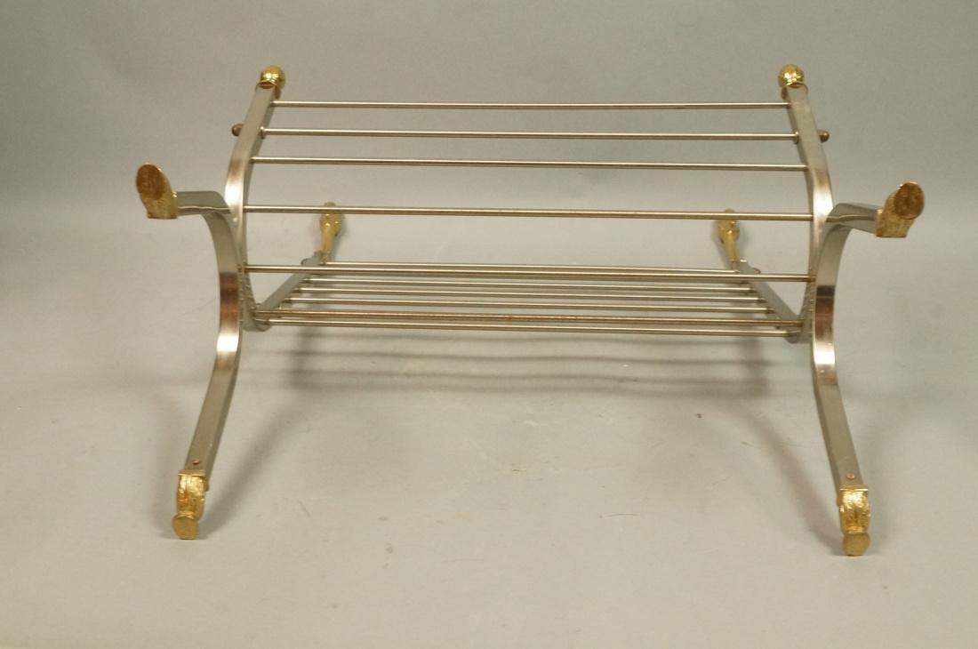 Italian Stainless Brass Rams Head Magazine Rack. - 9