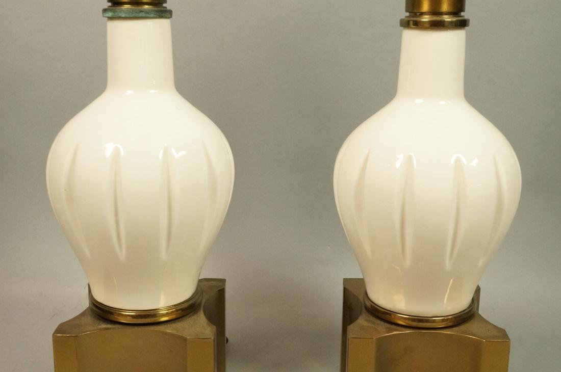 Pr Modern Off White Table Lamps. Brass Bases & Tr