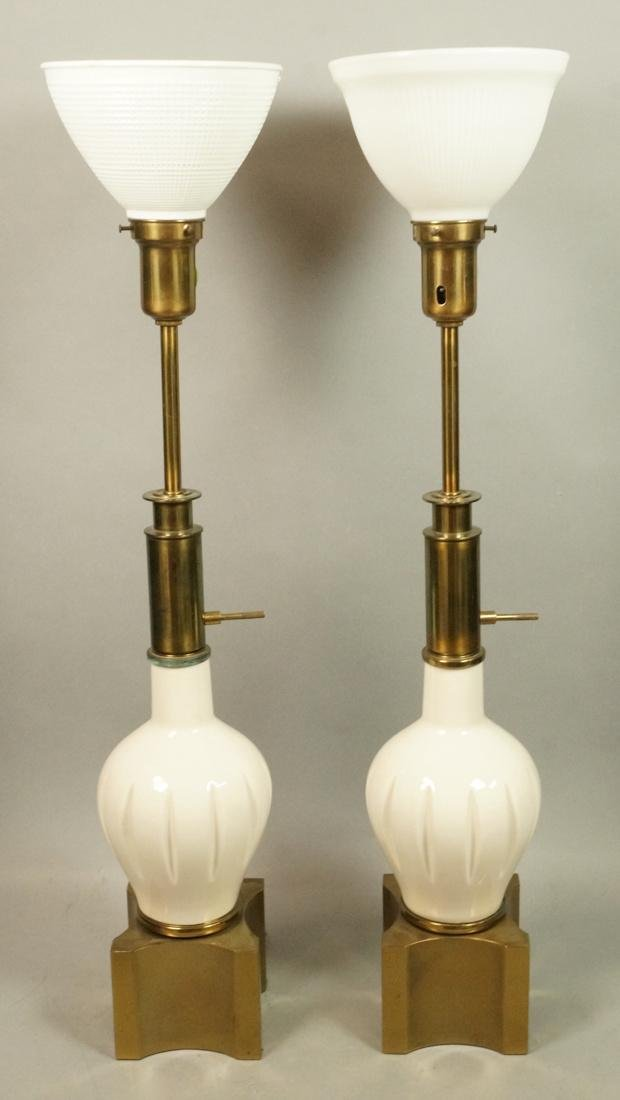 Pr Modern Off White Table Lamps. Brass Bases & Tr - 2