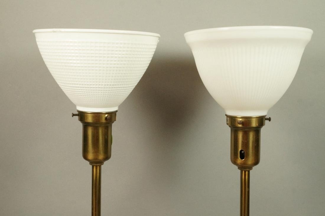 Pr Modern Off White Table Lamps. Brass Bases & Tr - 3
