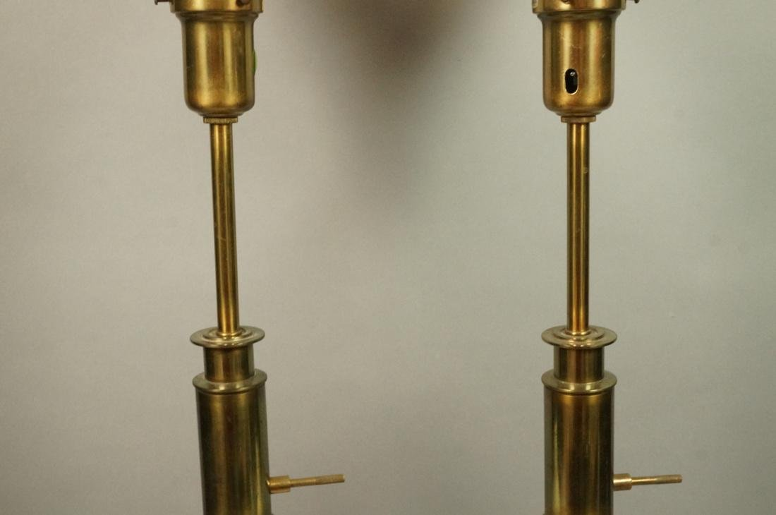 Pr Modern Off White Table Lamps. Brass Bases & Tr - 4