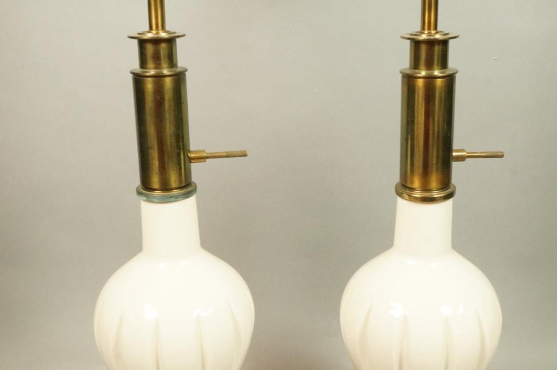 Pr Modern Off White Table Lamps. Brass Bases & Tr - 5