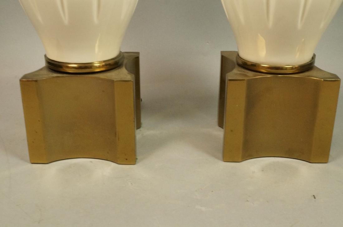 Pr Modern Off White Table Lamps. Brass Bases & Tr - 6