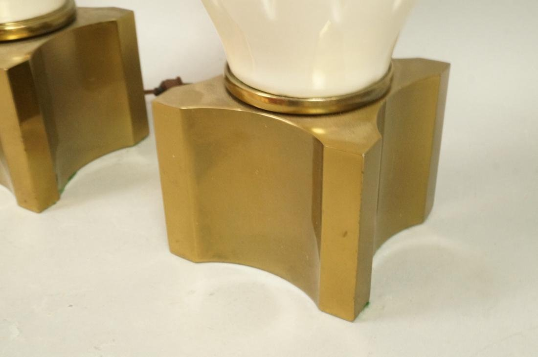 Pr Modern Off White Table Lamps. Brass Bases & Tr - 7