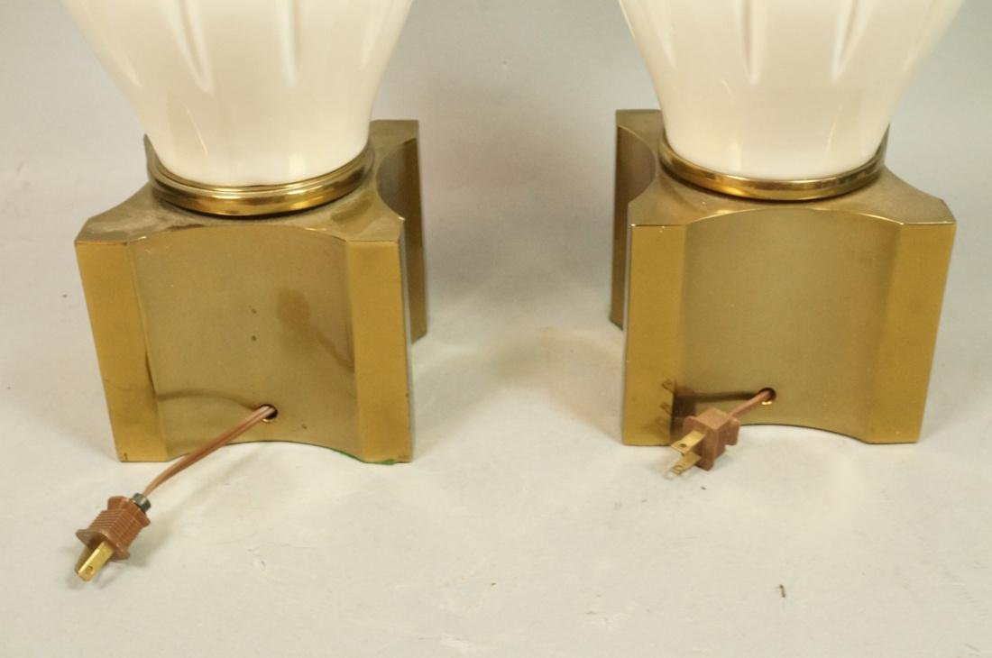 Pr Modern Off White Table Lamps. Brass Bases & Tr - 9