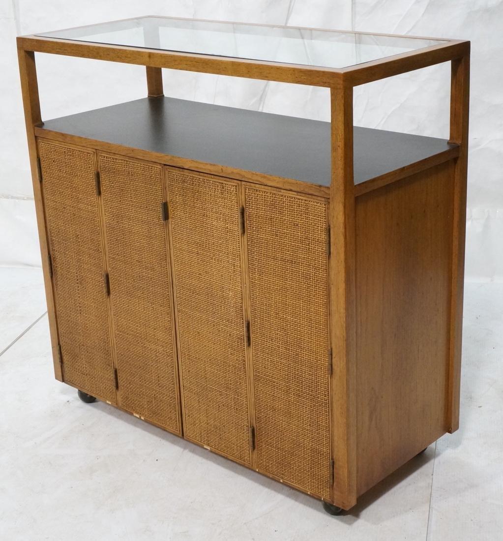 Modern Fruitwood Woven Door Rolling Cabinet. Two