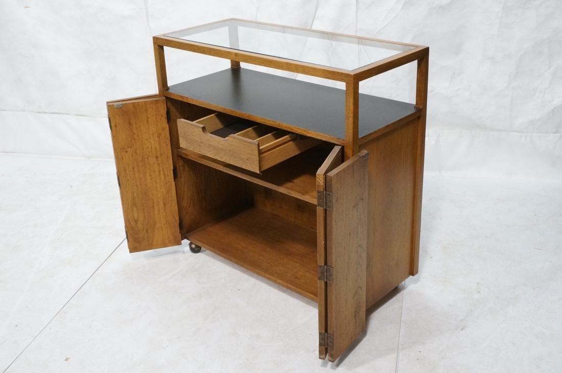 Modern Fruitwood Woven Door Rolling Cabinet. Two - 2