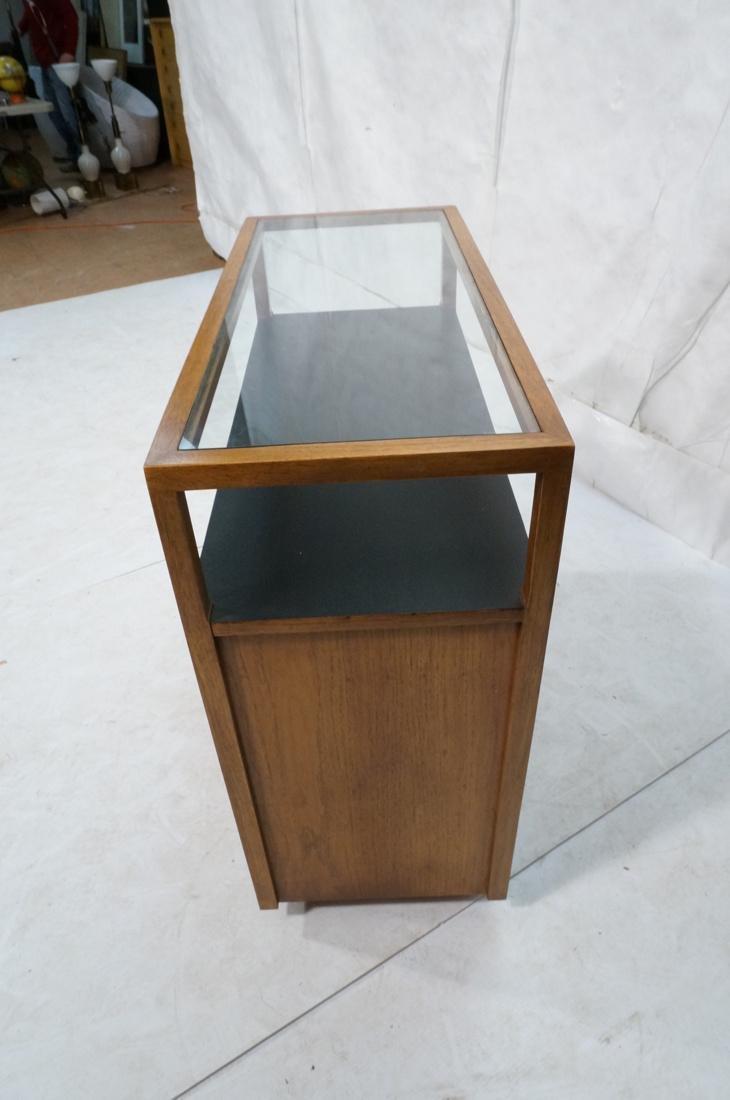 Modern Fruitwood Woven Door Rolling Cabinet. Two - 3