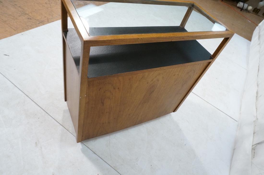 Modern Fruitwood Woven Door Rolling Cabinet. Two - 4