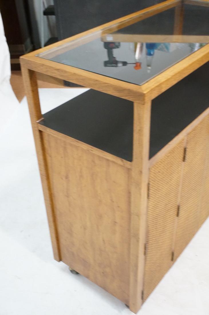 Modern Fruitwood Woven Door Rolling Cabinet. Two - 5