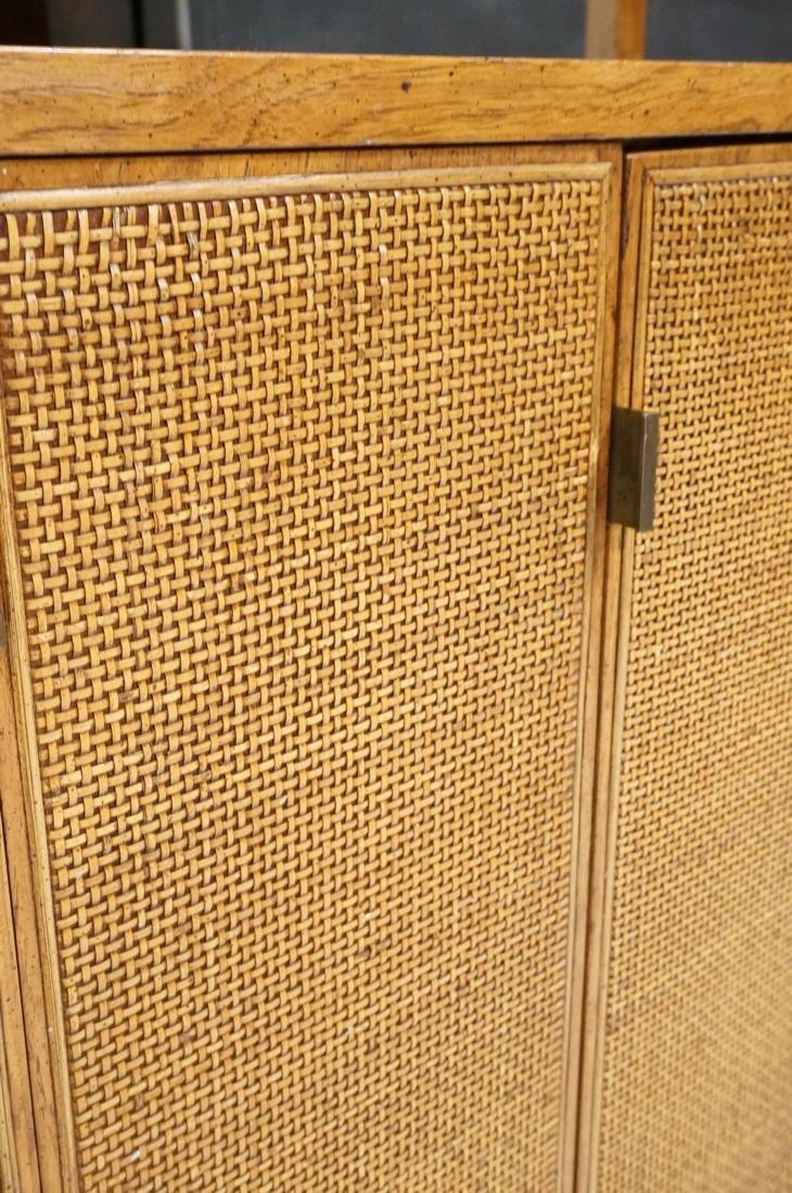 Modern Fruitwood Woven Door Rolling Cabinet. Two - 6