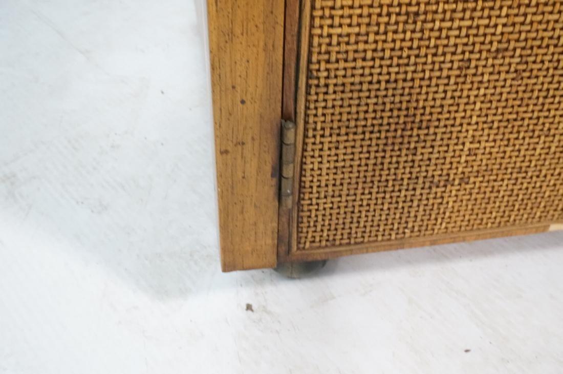 Modern Fruitwood Woven Door Rolling Cabinet. Two - 7